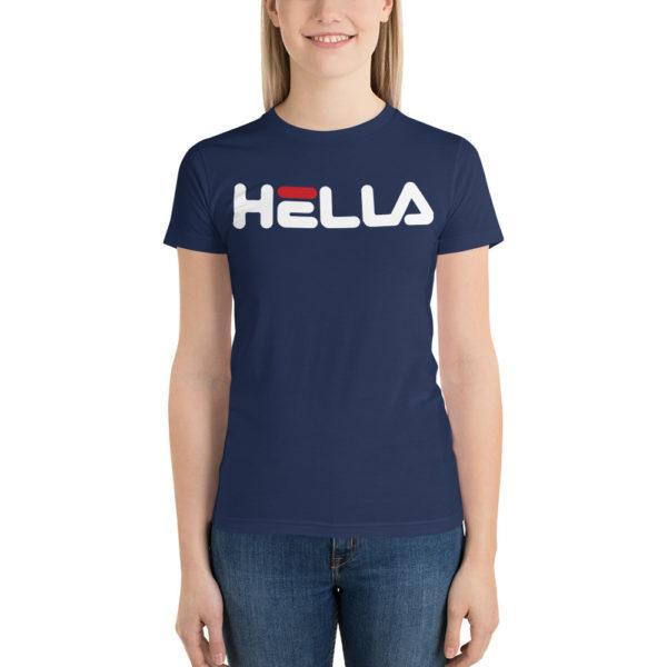 Woman wearing Hella T shirt. Bay Area-born phrase meets classic Fila font.