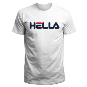 Mens Hella T Shirt. Bay Are-born phrase meets classic Fila font.