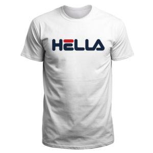 Mens Hella T Shirt. Bay Are-born phrase meets classic Fila font.