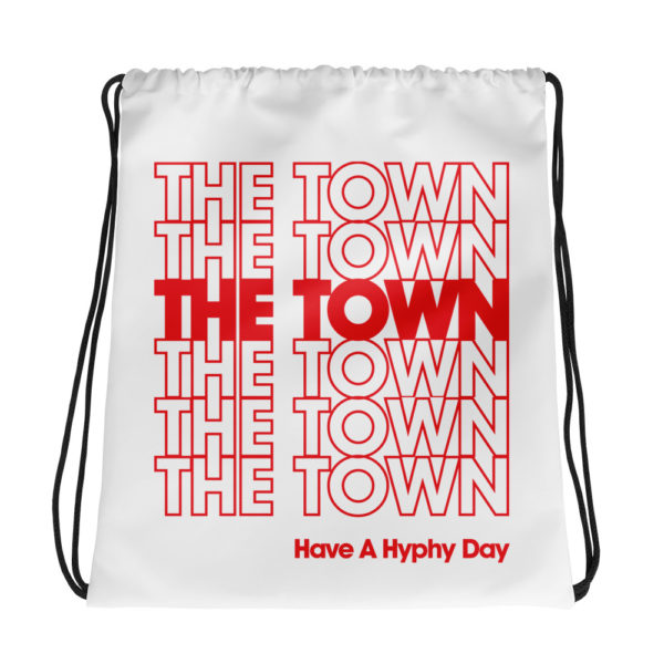 "Drawstring bag with Oakland's nickname ""The Town"" repeated like a Thank You bag and a nod to the hyphy movement."