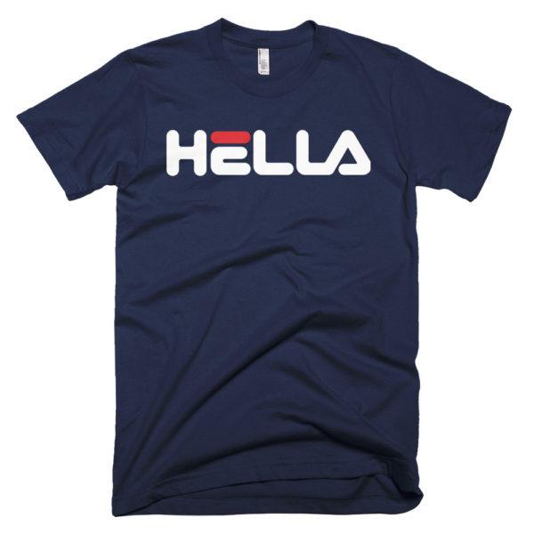 Hella T Shirt. Bay Area-born phrase meets classic Fila font.